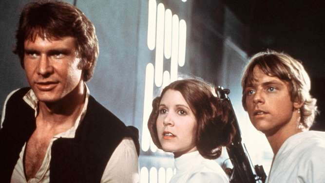 "Harrison Ford, Carrie Fisher und Mark Hamill in ""Star Wars"""