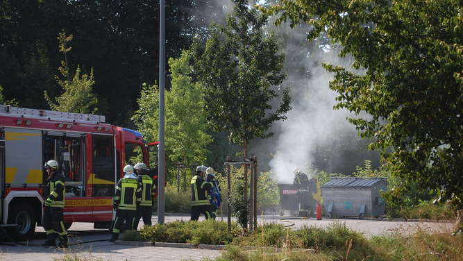 Containerbrand in Traunstein.