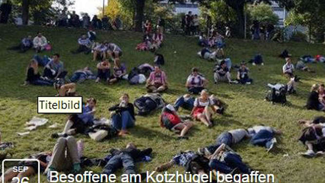 Irre Wiesn-Aktion, Facebook, Kotzhügel, begaffen