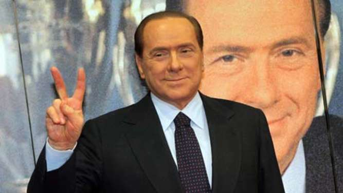 Silvio Berlusconi celebrates his 25 years as president of AC Mila