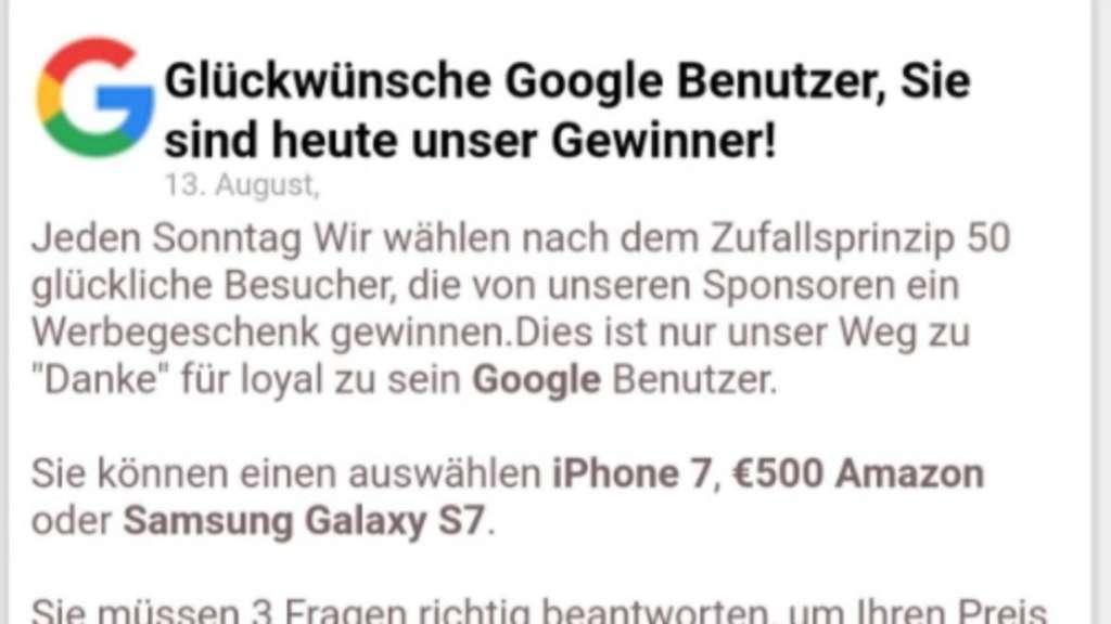 Google Gewinner Fake