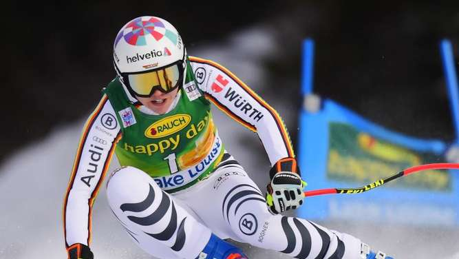 Viktoria Rebensburg fuhr im Super G in Lake Louise auf den dritten Rang. Foto: Frank Gunn/The Canadian Press/AP