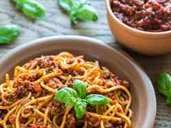 Spaghetti with bolognese sauce on the wooden background (Alex9500)